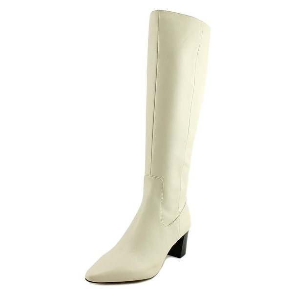 Calvin Klein Nolina Women Pointed Toe Leather Ivory Knee High Boot