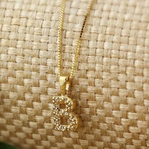 Auriya 1/10ctw Pave Accent Diamond Initial Pendant Necklace 14k Yellow Gold