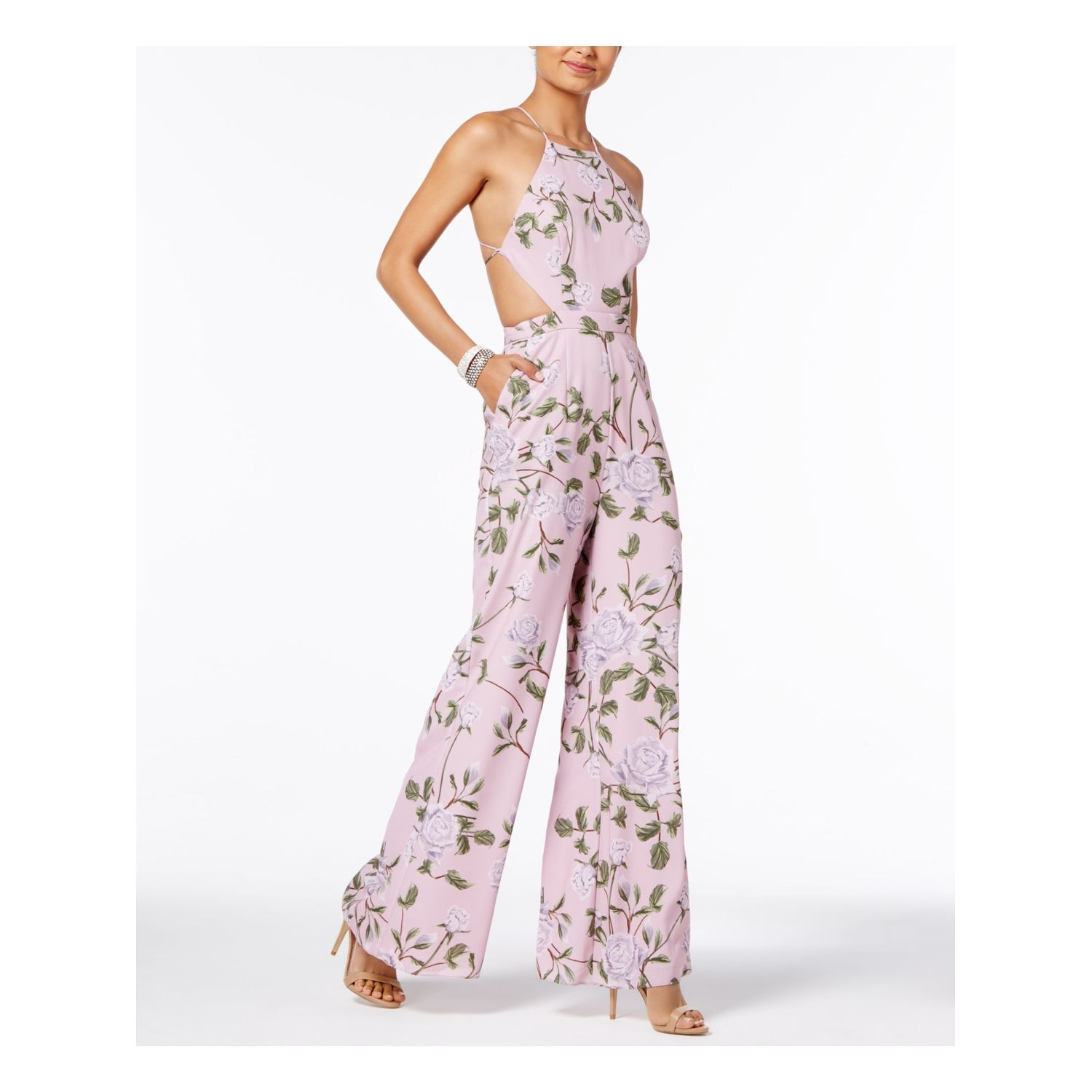 Fame And Partners Womens Pink Floral Halter Wide Leg Jumpsuit Size 16 Overstock 30269707