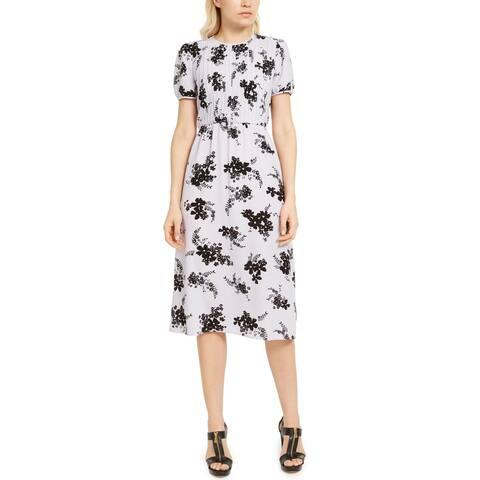 MICHAEL Michael Kors Womens Midi Dress Floral Print Pintuck - Lavender Mist