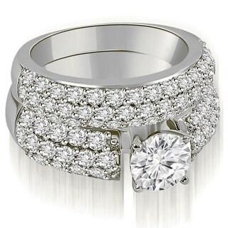 2.80 CT.TW Three Row Round Cut Diamond Bridal Set in 14KT Gold - White H-I