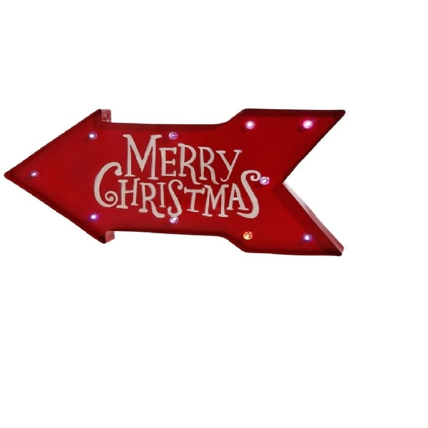 """23"""" Battery Operated Lighted Color Changing Red Arrow Merry Christmas Sign - WHITE"""