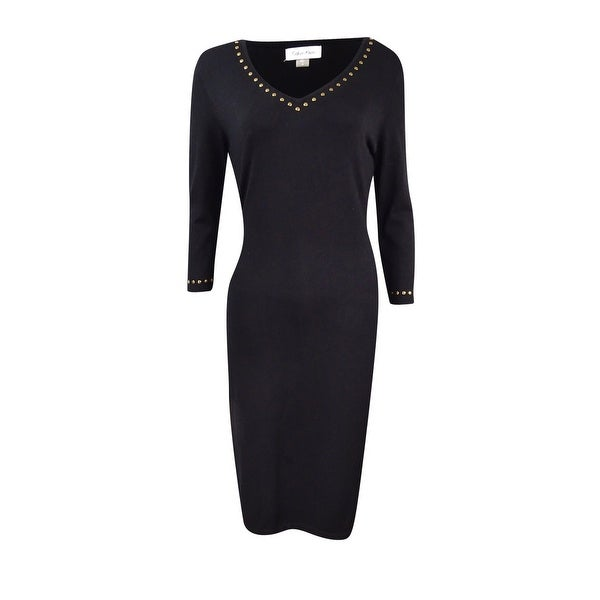c9bb5378f21 Shop Calvin Klein Women s Studded V-Neck Sweater Dress - On Sale ...