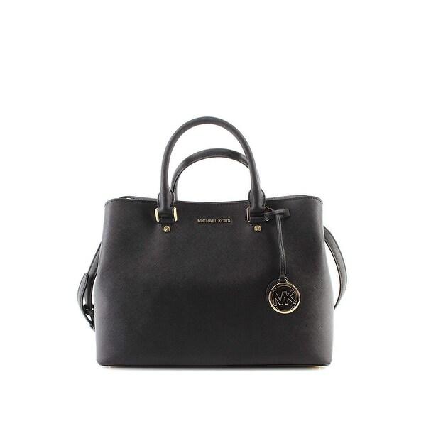 5a8295eee989 MICHAEL Michael Kors Savannah Large Leather Satchel Black/Gold - One Size