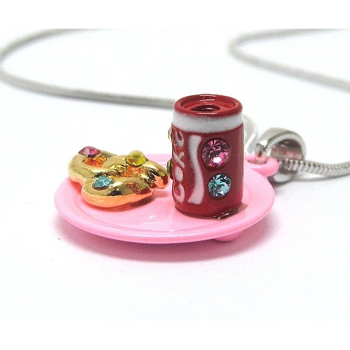 Children's Miniature Soda and Pretzel pendant Necklace