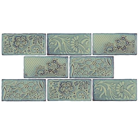 "SomerTile Antic Feelings Agua Marina 3"" x 6"" Ceramic Subway Wall Tile"