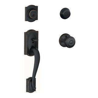 Schlage F62-CAM-GEO  Camelot Double Cylinder Handleset with Georgian Interior Knob from the F-Series