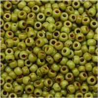 Toho Round Seed Beads 11/0 Y310 - Hybrid Sour Apple Picasso (8 Grams)