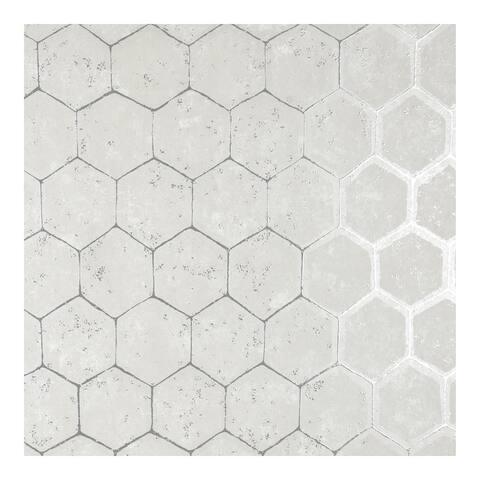 Starling Silver Honeycomb Wallpaper - 27.5 x 396 x 0.025