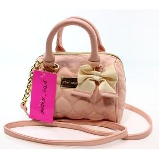 Betsey Johnson NEW Cream Pink Swag Heart Mini Top Handle Crossbody