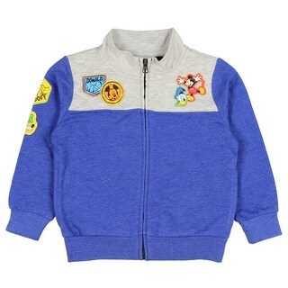 Disney Mickey Mouse Sweatshirt W/ Donald Duck Goofy Little Boys Full Zipper