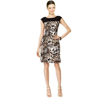 Connected Leopard Printed Cap Sleeve Sheath Dress - 10