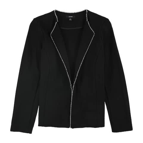 Alfani Womens Beaded Edge Blazer Jacket, black, 12P