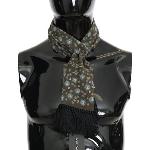 Dolce & Gabbana Green Silk Floral Print Men's Scarf - One Size