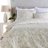 Cool Gray and Sandstone White Elegant Blossom Dreams Linen Decorative King Duvet - Beige