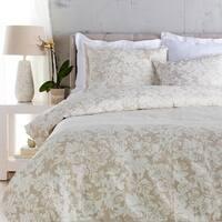 Cool Grey and Sandstone White Elegant Blossom Dreams Linen Decorative Full/Queen Set