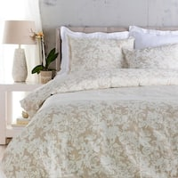 Cool Grey and Sandstone White Elegant Blossom Dreams Linen Decorative Twin Set