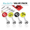 4 Pcs Pack of Assorted Word Surgical Steel Barbell with Epoxy Dome Ball - 14 GA - Thumbnail 0