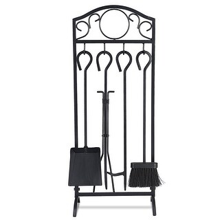 Costway 5 Pieces Fireplace Tools Set 4 Tools & Decor Holder Wrought Iron Fireplaces - Black