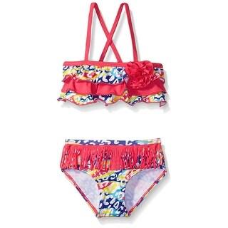 Pink Platinum Girls' Bikini Swimsuit with Fringe - 4 (2 options available)