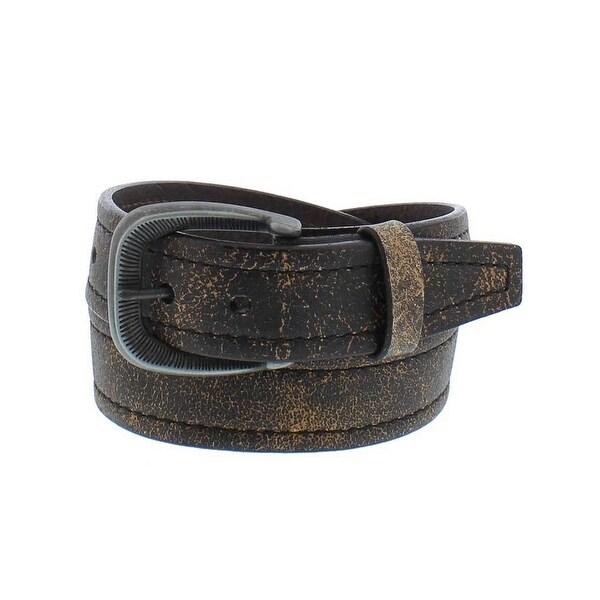 Vintage Bison Western Belt Mens Valencia Leather Stitch Sand
