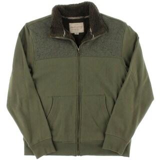 Weatherproof Vintage Mens Faux Sherpa Lined Long Sleeves Full Zip Sweater