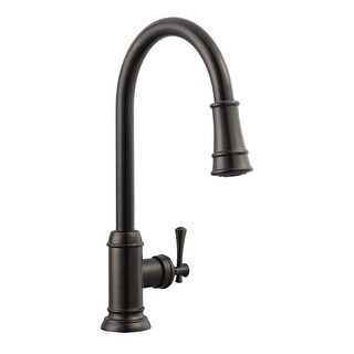 Design House 524728 Single Handle Brushed Bronze Kitchen Faucet With Metal  Lever Handle And Pull