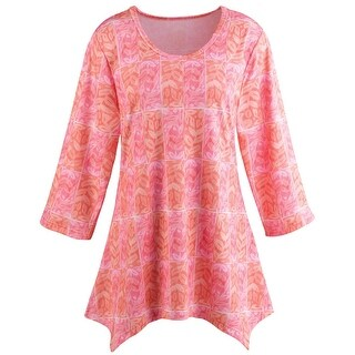 Women's Tunic Top - Coral Classic Pink Blouse - Sharkbite Hem