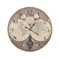 Old World Map 23 Inch Diameter Pendulum Wall Clock - 23 X 23 X 0.25 inches