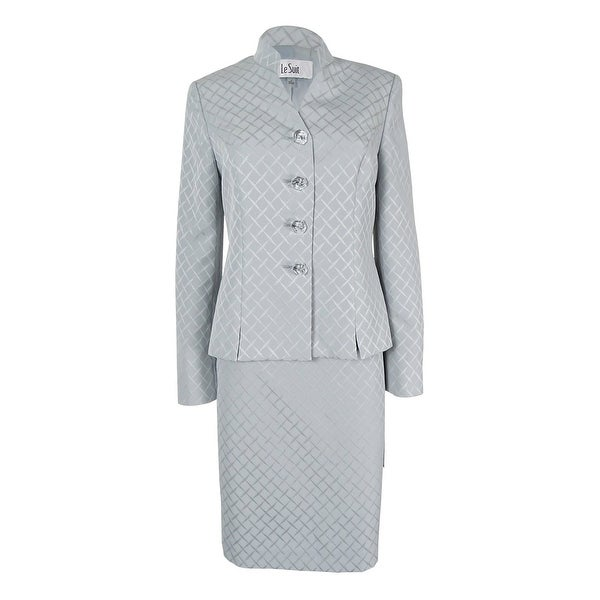 Shop Le Suit Women S Printed Stand Collar Skirt Suit Silver On