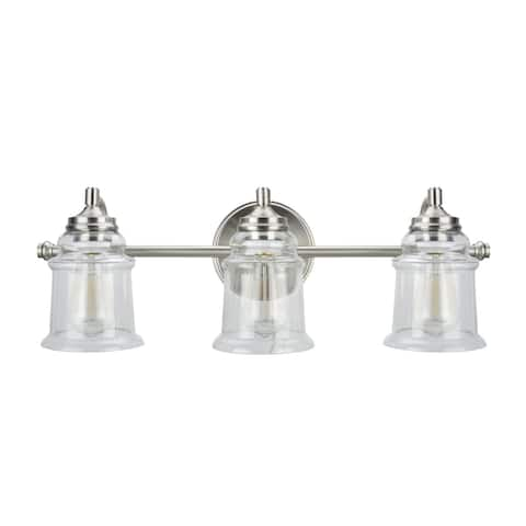 """Aspen Creative Three-Light Metal Bathroom Vanity Wall Light Fixture, 23 3/4"""" Wide, Brushed Nickel with Clear Glass Shade"""