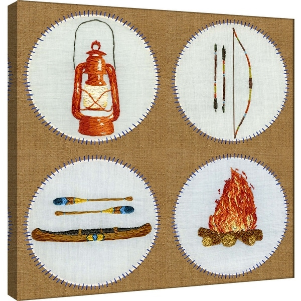 """PTM Images 9-101214 PTM Canvas Collection 12"""" x 12"""" - """"Camping Embroidery Grid"""" Giclee Outdoor Badges Art Print on Canvas"""