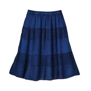 Women's Indigo Boho Skirt - Knee Length