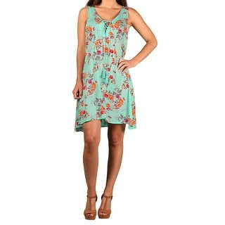 Paperdoll Junior Floral Print Sleeveless Dress (Option: Mint Green)