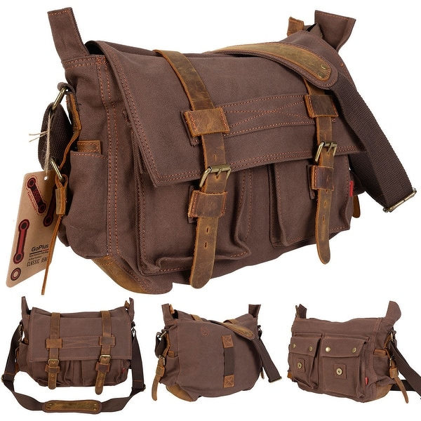 Costway Men's Vintage Canvas Leather School Military Shoulder Messenger Bag (Coffee