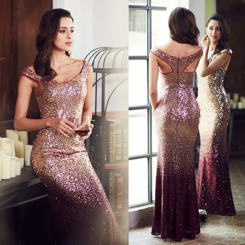 Ever-Pretty Womens Elegant Mermaid Sequin Formal Evening Prom Gown Party Dress 08999