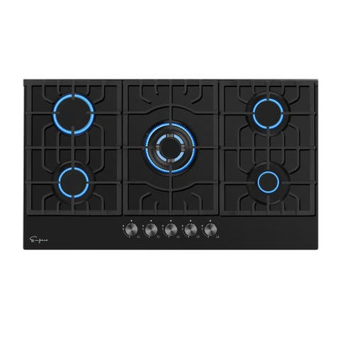 Empava 36 in. Gas Stove Cooktop 5 Italy Sabaf Sealed Burners NG/LPG Convertible in Black Tempered Glass