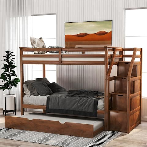 Twin-Over-Twin Trundle Bunk Bed with 3 Storage Drwers (Walnut)