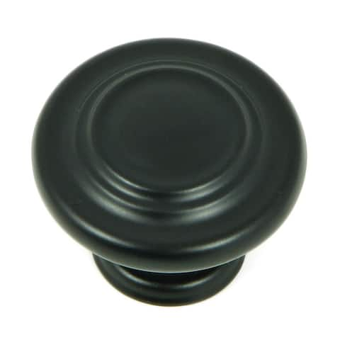 Stone Mill Hardware - Matte Black 3-ring Cabinet Knobs (Pack of 10)