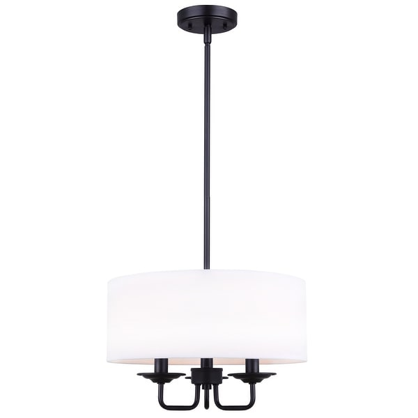 Canarm Eastbrook 3 Light Chandelier With White Fabric Shades Matte Black Finish