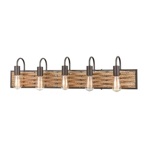 Rope-Weaved Five Light Bath Vanity - Exposed Bulb Steampunk Bathroom Lighting with Curved Arms Bare