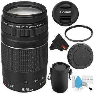 Canon EF 75-300mm f/4-5.6 III Telephoto Zoom Lens 6473A003 + Deluxe Lens Pouch + Deluxe Cleaning Kit + MicroFiber Cloth Bundle