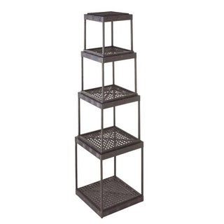 4-Piece Modern Distressed Black Finish Stacking Crate Style Cube Shelves
