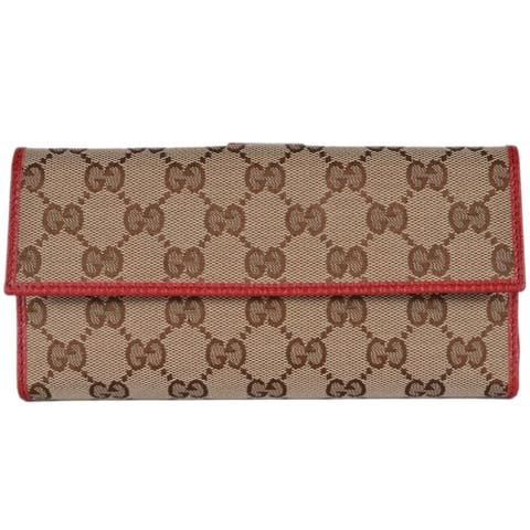 "Gucci Women's 231841 Beige Red GG Guccissima Continental Wallet W/Coin - measures 7.75"" x 4"""