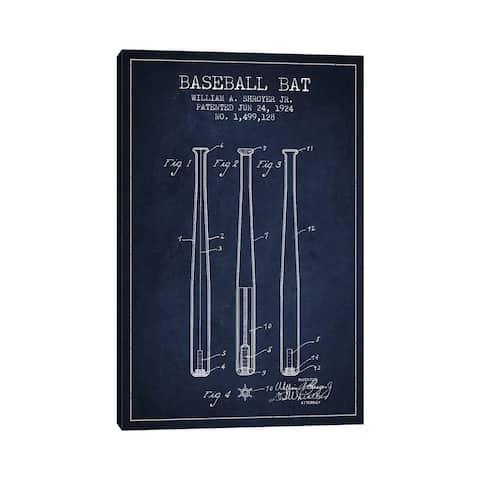 "iCanvas ""Baseball Bat Navy Blue Patent Blueprint"" by Aged Pixel Canvas Print"