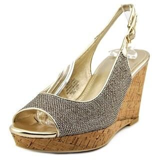Mia Davito Women Open Toe Canvas Gold Wedge Heel