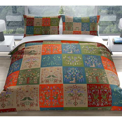 SCANDINAVIAN PATCHWORK TUSCAN TONES Duvet Cover by Kavka Designs