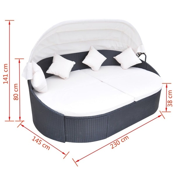 """vidaXL Outdoor Lounge Bed with Canopy Poly Rattan Black - 91"""" x 57"""" x 31"""""""