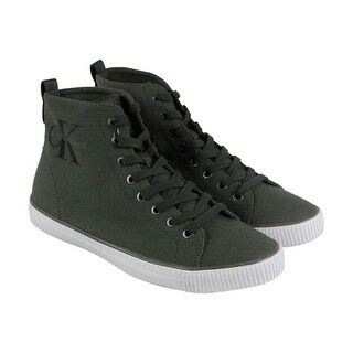 Calvin Klein Arthur Mens Green Canvas High Top Lace Up Sneakers Shoes