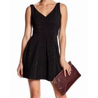Betsey Johnson Black Womens Size 4 V-Neck Bow-Back A-Line Dress